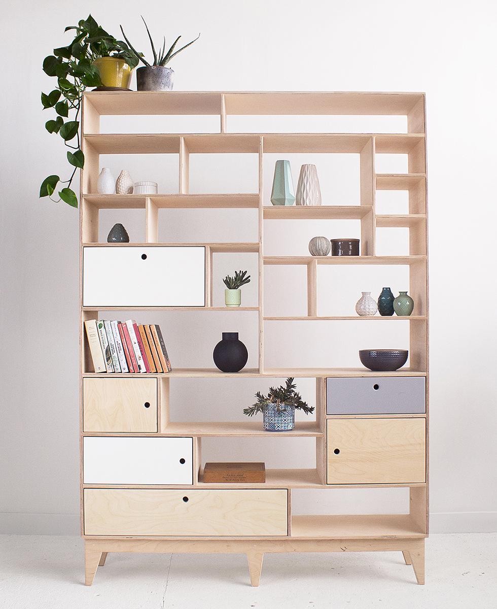 plywood bookcase spacious shelves handmade custom