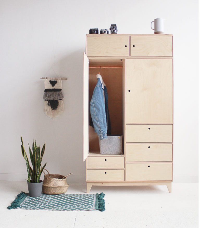 plywood wardrobe spacious handmade custom minimalistic