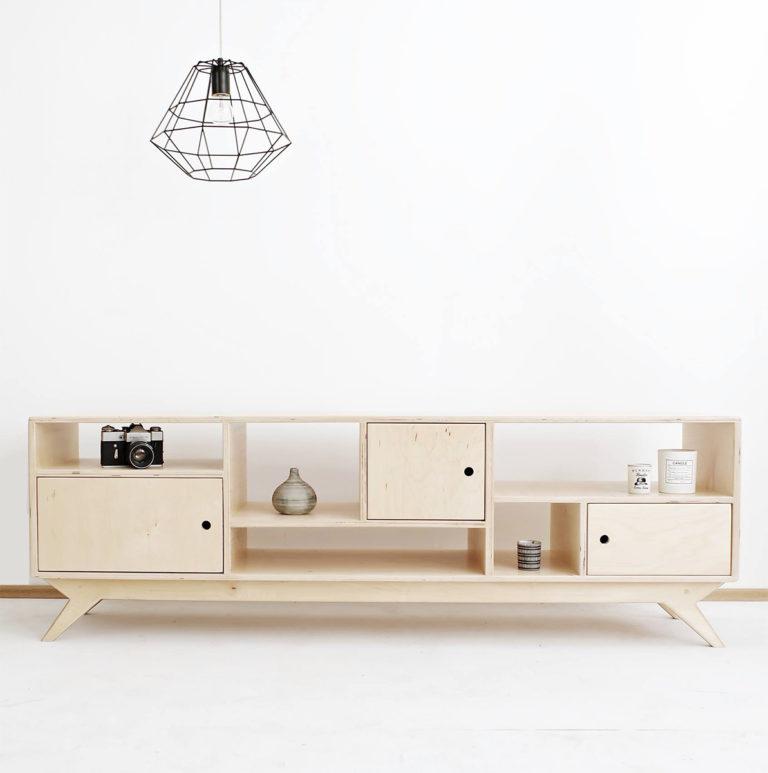 plywood tv unit handmade custom minimalistic design