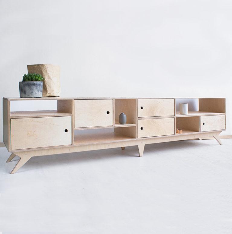 plywood tv unit long handmade custom