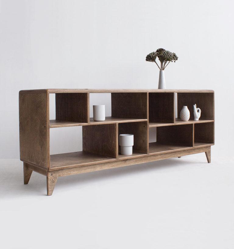 plywood tv unit open shelves handmade custom