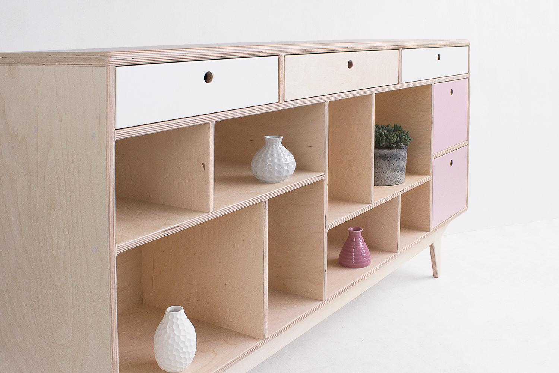 plywood chest od drawers open shelves handmade custom