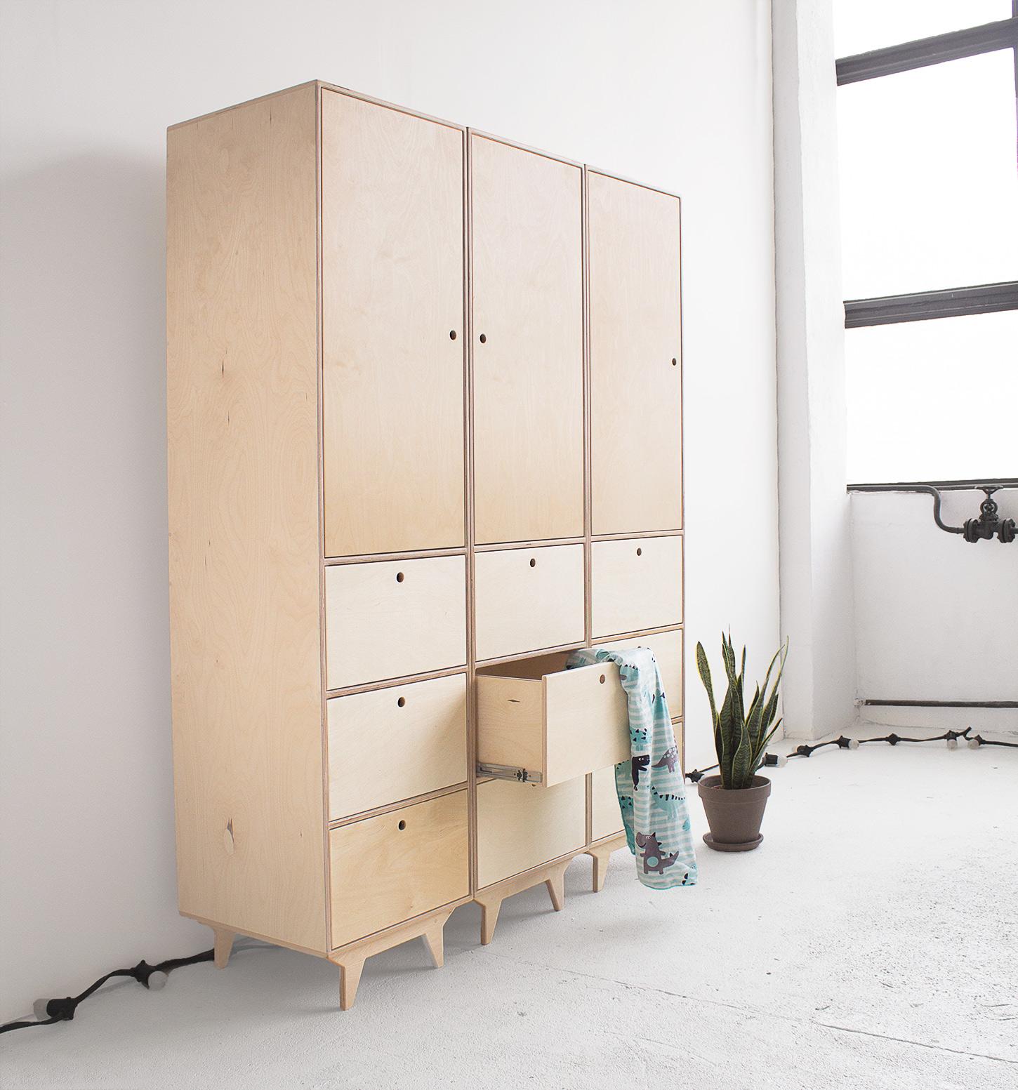 plywood wardrobe spacious drawers handmade custom