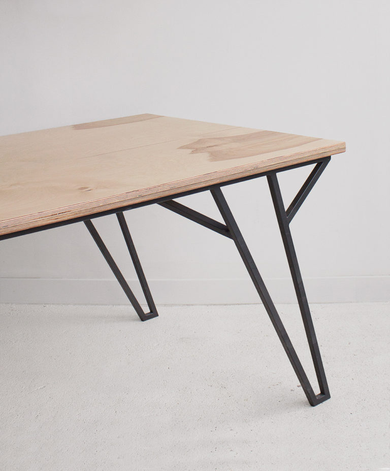 plywood metal coffee table handmade custom modern design