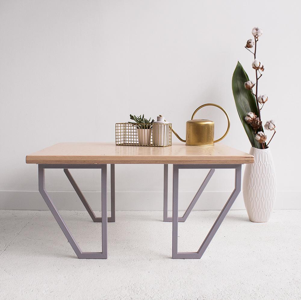 plywood metal coffee table handmade custom minimalistic design