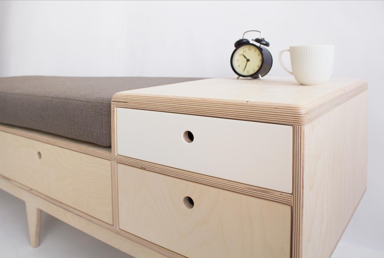 plywood seat drawers handmade custom minimalistic