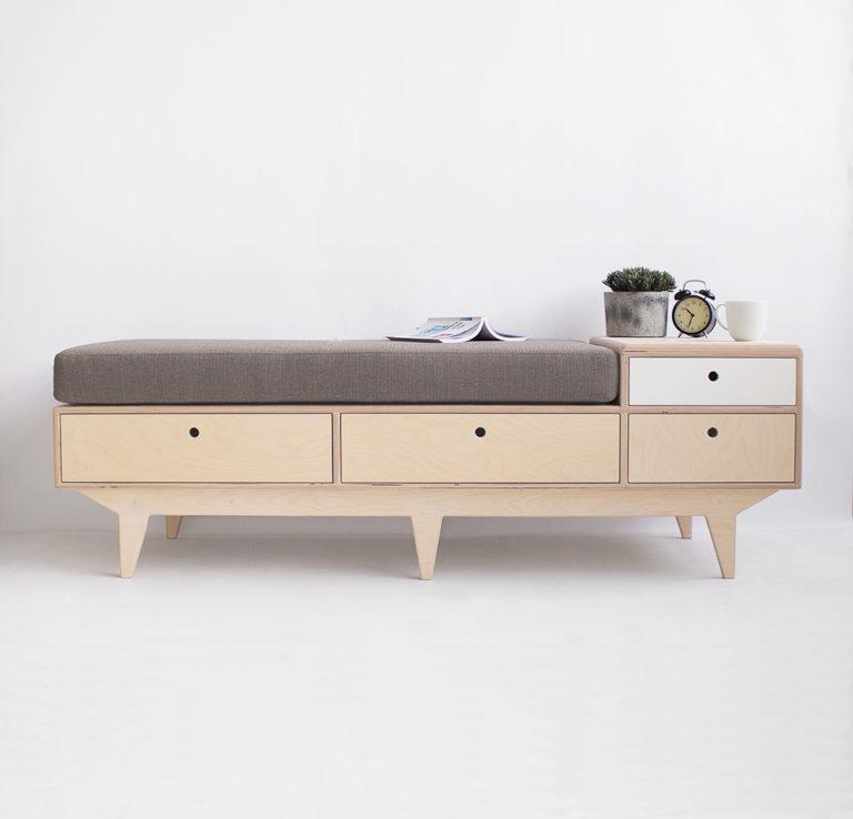 plywood seat bench drawers handmade custom minimalistic