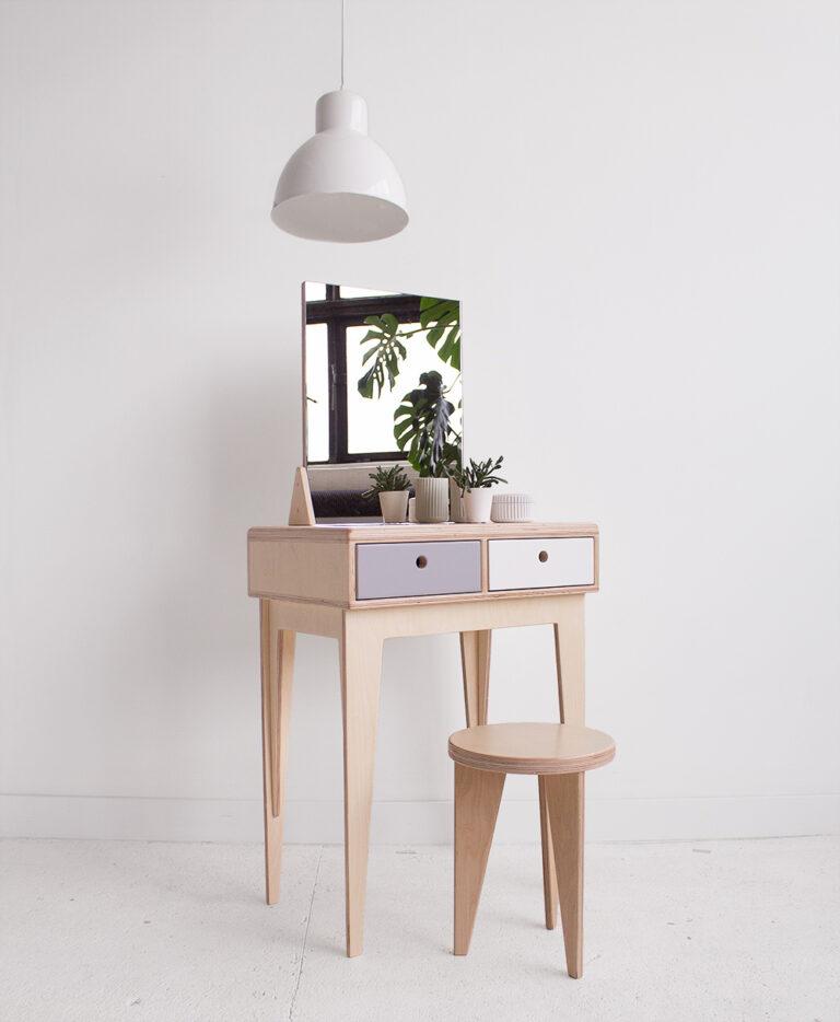 plywood dressing desk mirror handmade custom minimalistic