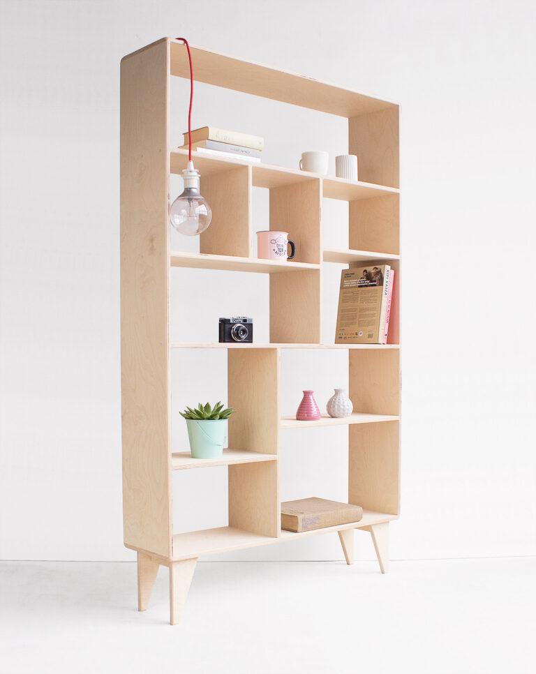 plywood bookcase shelves light handmade custom minimalistic