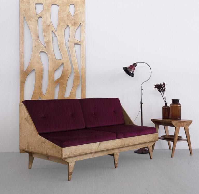 sofa ze sklejki dąb