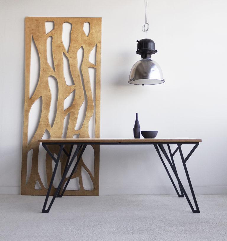 plywood steel table