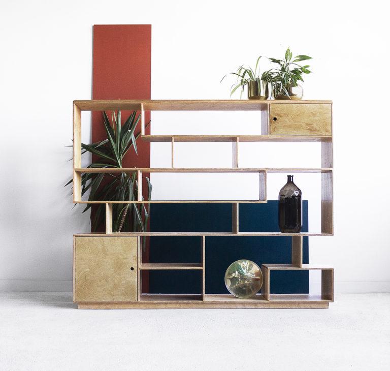 plywood modular bookcase