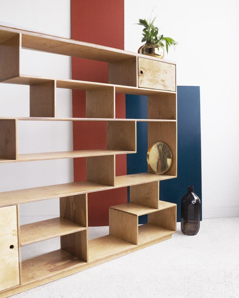 plywood modular shelving unit