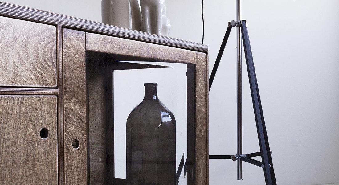 plywood glazed showcase handmade vintage design