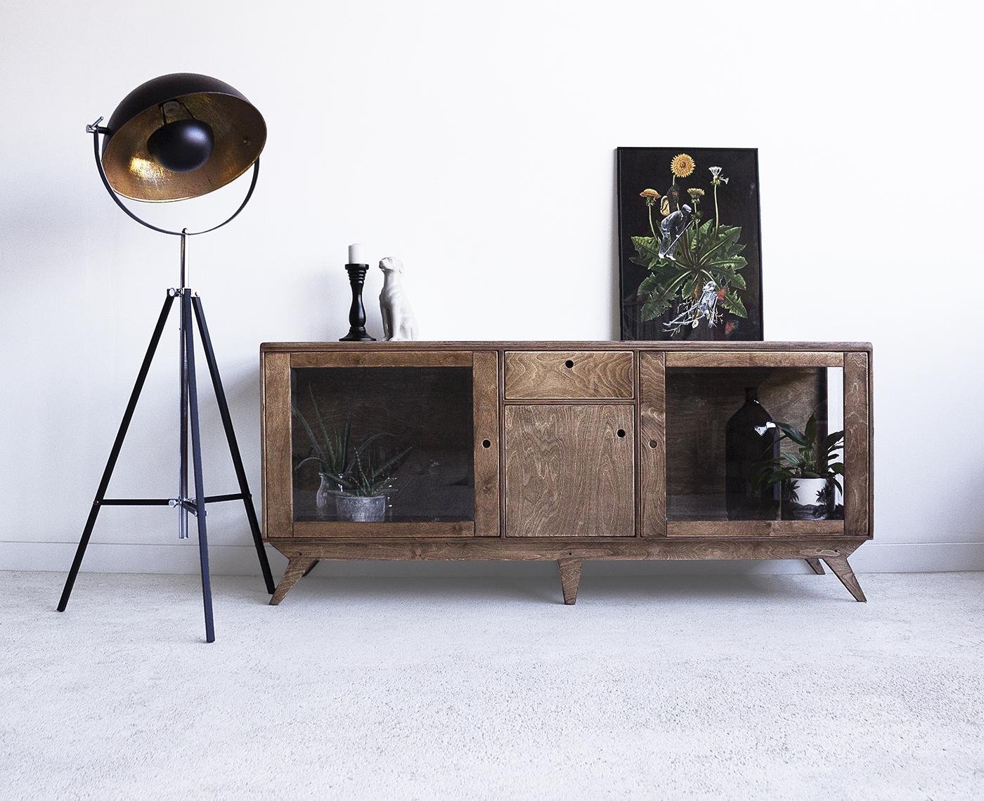 plywood glazed showcase handmade custom vintage design