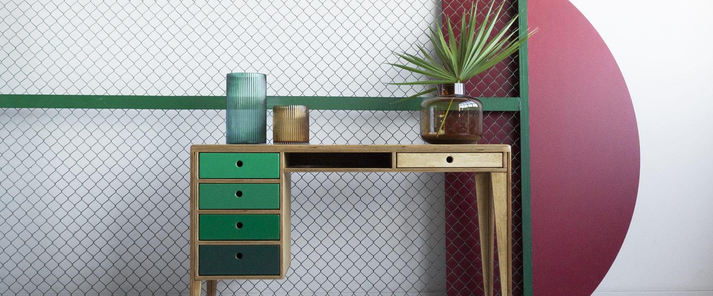 biurko vintage ze sklejki