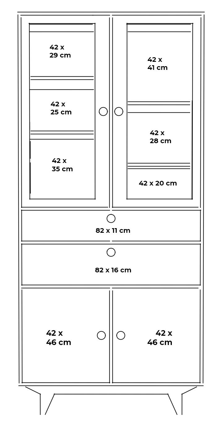 plywood glazed showcase measurements