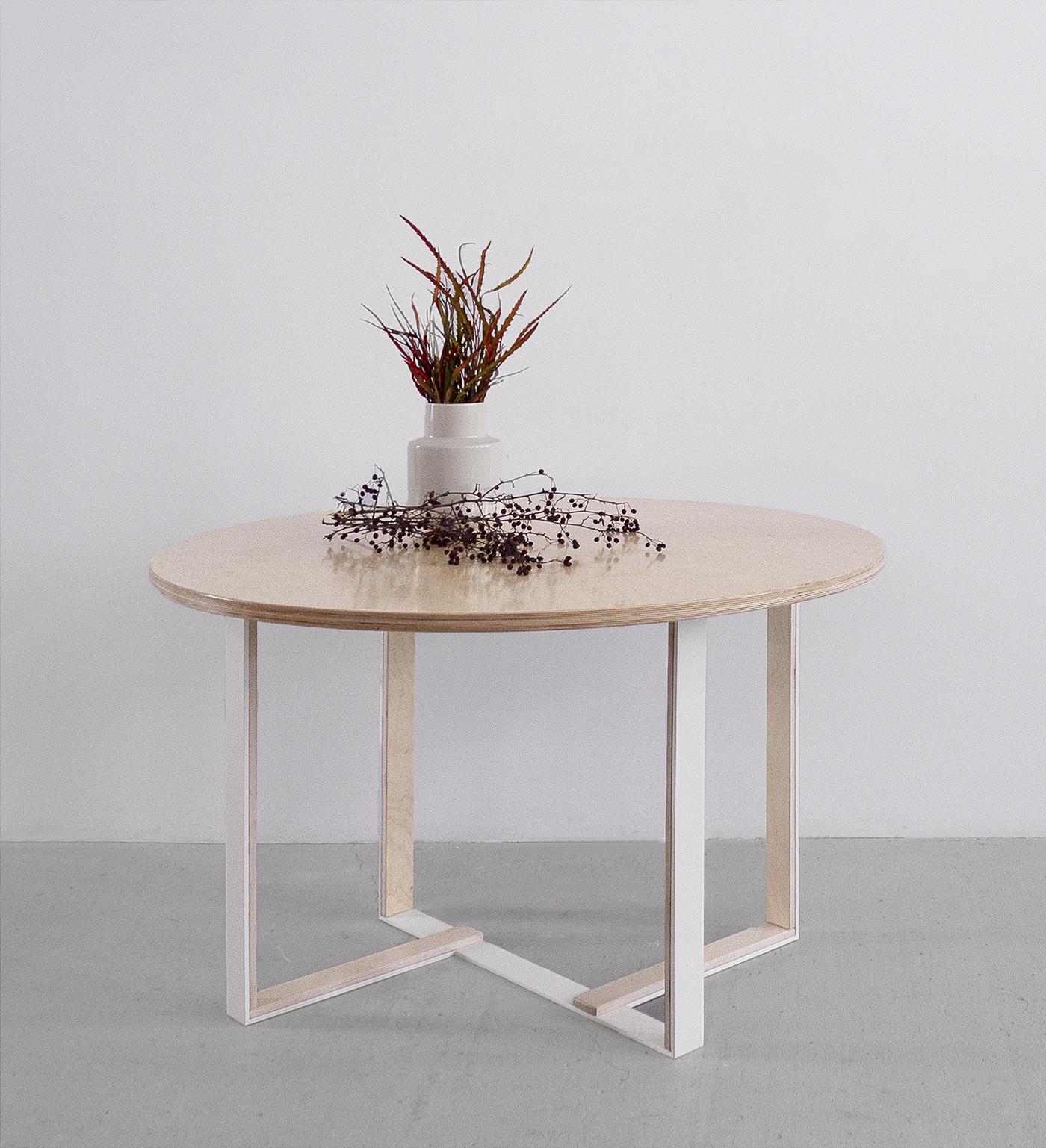 stół okrągły ze sklejki na metalu