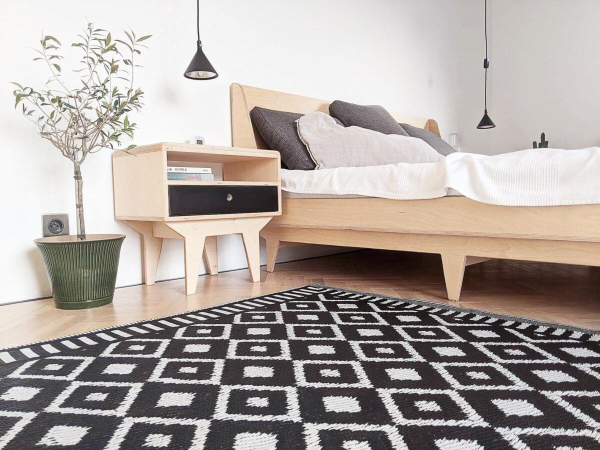 łóżko sklejka szafka nocna sypialnia