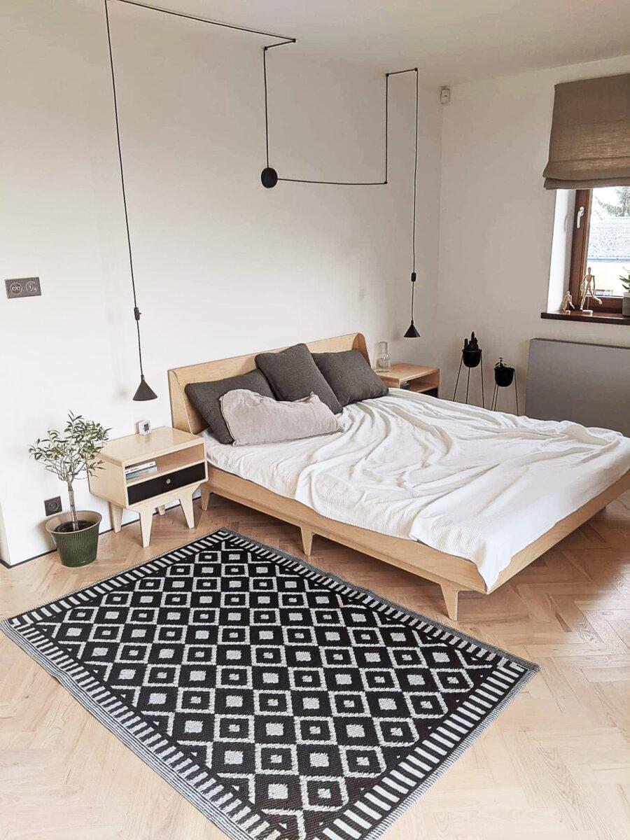 łóżko skandynawskie ze sklejki drewniane