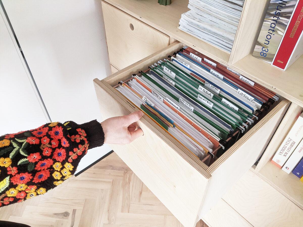 szuflada na dokumenty sklejka
