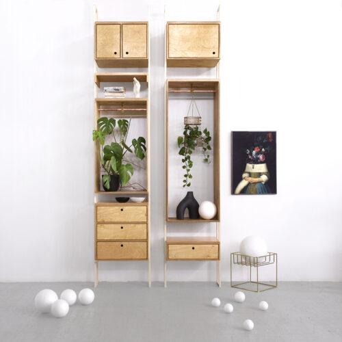 modular system shelving unit plywood wood