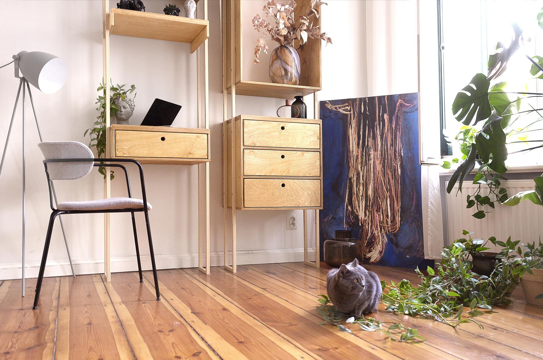 plywood steel modular system bookshelf wardrobe