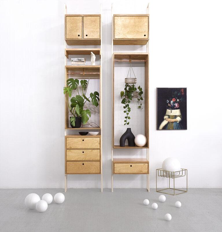 modular shelving wardrobe system plywood